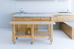 Perfect idea for kitchen interior design with wooden furniture Stock Image