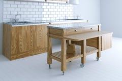 Perfect idee voor keuken binnenlands ontwerp met houten meubilair Royalty-vrije Stock Afbeeldingen