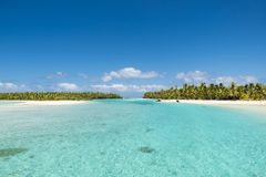 Perfect islands in turquoise clear water, deep blue sky, white sand, Pacific Island. Islands of dreams in the Tropes: One-Foot-Island, Aitutaki, Cook Islands Royalty Free Stock Image
