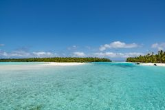 Perfect islands in turquoise clear water, deep blue sky, white sand, Pacific Island. Islands of dreams in the Tropes: One-Foot-Island, Aitutaki, Cook Islands Royalty Free Stock Photo