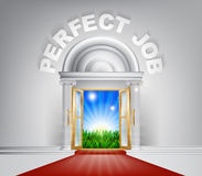 Perfect Job Door Concept. An illustration of a posh looking door with red carpet and Perfect Job above it. Concept for finding the right career Stock Photography