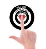 Perfect job search concept using hand poiting middle of target Stock Images
