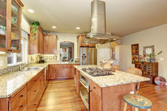 Perfect kitchen with hardwood floor and island. Stock Photography