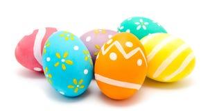 Perfect kolorowi handmade Easter jajka odizolowywający Fotografia Stock