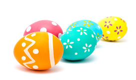 Perfect kolorowi handmade Easter jajka odizolowywający Zdjęcia Royalty Free