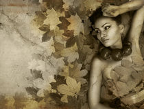 Perfect lady Autumn stock images