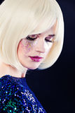 Perfect Lady Fashion Model with Artistic Glitters Makeup Stock Photography