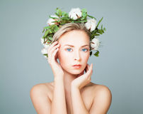 Perfect Lady in White Cotton Flowers Wreath Royalty Free Stock Images