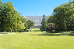 Perfect Lawn in Royal Palace Madrid Royalty Free Stock Photos