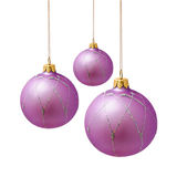 Perfect lilac christmas balls isolated on white Royalty Free Stock Images