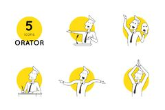 Perfect line speaker icons in various poses and manifestations of oratory professional skills. Modern linear vector illustration