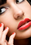 Perfect lips and nails. Royalty Free Stock Photos