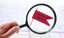 Perfect Location pin flag Stock Photography