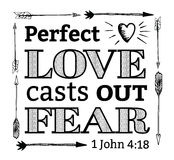 Perfect Love Casts Out Fear Emblem Stock Photo