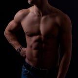 Perfect męski ciało na czarnym tle Zdjęcie Stock