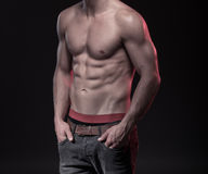 Perfect męski ciało z sixpack Obrazy Royalty Free