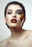 Perfect makeup with butterfly Stock Images