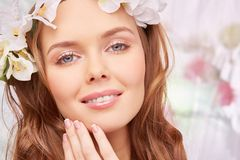 Perfect makeup. Charming girl with spring makeup Royalty Free Stock Image