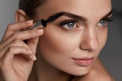 Perfect Makeup Dla Pięknej kobiety Brwi opieka Dla brwi Fotografia Stock