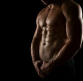Perfect male body. Close up of perfect male body isolated on black background with copy space Royalty Free Stock Images