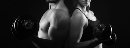 Perfect male and female upper bodies.  stock photos