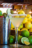 A Perfect Margarita. Margarita served up in a martini glass with shaker Royalty Free Stock Image