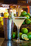 A Perfect Margarita II. Margarita served up in a martini glass with shaker wider angle royalty free stock image