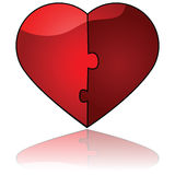 Perfect match. Glossy illustration showing two halves fitting perfectly like a puzzle to form one single heart Royalty Free Stock Image