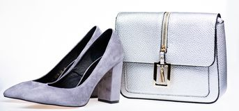 Perfect match concept. Pair of fashionable high heeled shoes and silver purse. Shoes made out of grey suede on white Stock Image