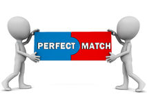 Perfect match. On two compatible pieces put together by little 3d men, white background Royalty Free Stock Photos