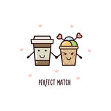 Perfect match. Vector illustration. Perfect match. Coffee and ice cream. Vector illustration Stock Image