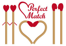 Perfect match, vector set. Perfect match, matches in love, heart shape, set of vector graphic design elements Royalty Free Stock Images