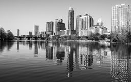 Perfect middle of Town Lake Austin Skyline Reflection royalty free stock image