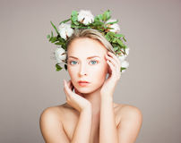 Perfect Model Woman with Healthy Skin and Cotton Flowers. Cosmet Royalty Free Stock Photo