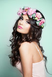 Perfect Model Woman with Summer Pink Flowers Stock Image