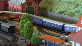 Perfect models of the old steam trains and modern diesel locomotives and railway stations. Close up stock video