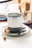 Perfect morning awake, book, homemade strong espresso coffee Stock Photos