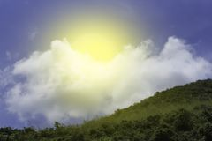 Perfect of the nature between the sky. And the mountain with the sunday Stock Photography