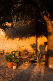 A perfect outdoor bar in the evening. In Groznjan, Istria, Croatia Stock Photos