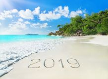Perfect palm beach Anse Georgette at Praslin island, Seychelles new year, season 2019 royalty free stock photography