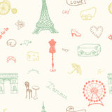 Perfect Paris seamless pattern with all symbols Stock Photo