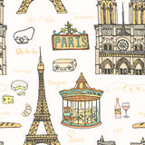 Perfect Paris seamless pattern with all symbols Stock Images