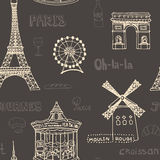 Perfect Paris seamless pattern with all symbols Royalty Free Stock Photography