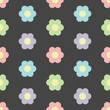 Perfect pastel flowers seamless pattern on dark background. Colorful flowers in constrast with a dark background, good for printing, wallpapers, gift wrap paper royalty free illustration