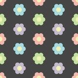 Perfect pastel flowers seamless pattern on dark background stock photo