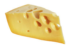 Perfect piece of swiss cheese with holes Stock Images
