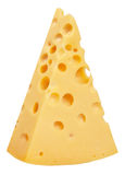The perfect piece of swiss cheese isolated on white background w Stock Photo