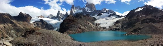 Perfect place in a perfect day. South Ameica travel, Patagonia, Argentina, trekking around El Chalten, amazing view of Fitz Roy and lakes stock image