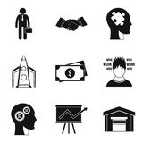 Perfect plan icons set, simple style. Perfect plan icons set. Simple set of 9 perfect plan vector icons for web isolated on white background Royalty Free Stock Photo