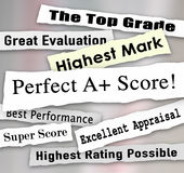 Perfect A Plus Score News Headlines Great Grade Review Evaluatio Royalty Free Stock Photos